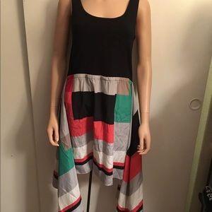 DKNY Black & multicolor Caped Skirt Dress Size M